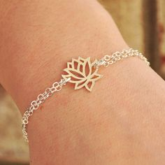 Silver Lotus Bracelet, Sterling Silver Lotus Flower Bracelet, Best Friend Bridesmaid Gift, Sterling Silver Jewelry Handmade. $32.00, via Etsy. - I would love this for Valetine's. Someone tell Eric. (;
