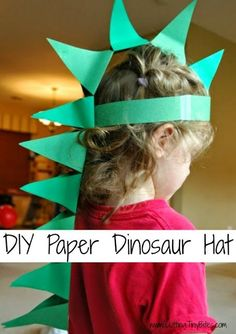 DIY Paper Dinosaur Hat.  Craft for preschool or older kids.