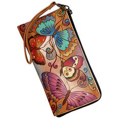 Anuschka Zip Around Clutch Wristlet Crystallized Swarovski Henna Butterfly