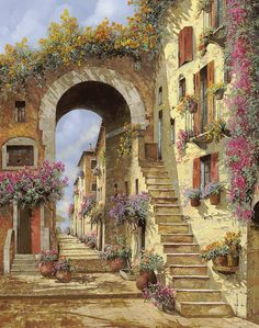 Landscape Painting - Le Scale E Un Arco by Guido Borelli Paintings I Love, Gustav Klimt, Oeuvre D'art, Landscape Paintings, Fine Art America, Beautiful Places, Scenery, Images, Illustrations