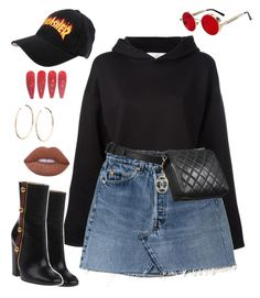 """""""Untitled #517"""" by za-r-ia ❤ liked on Polyvore featuring Golden Goose, Gucci, Jennifer Fisher, Chanel and Lime Crime"""