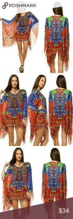 """Printed Embellish Kaftan Printed Embellish Kaftan -Front Embellish. Unlined -Imported by Trendology Inc.  -65% Silk, 45% Polyester -Length Approx 31""""(XS/S) Dresses Midi"""