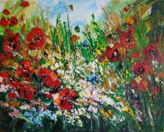 Red Poppies Meadow IMPASTO Original Oil Painting Flower Impression Europe Artist #ImpressionismImpastopaletteknifetexturedart