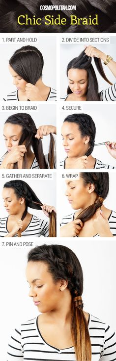 Chic side braid http://www.cosmopolitan.com/hairstyles-beauty/beauty-blog/street-style-inspired-hair-tutuorials