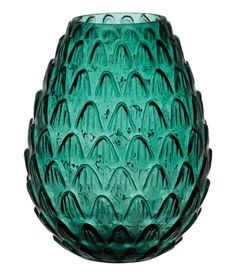 Check this out! Large vase in textured glass. Diameter at top 3 1/4 in., height 9 in. - Visit hm.com to see more.
