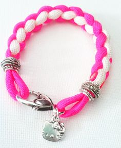 Hello Kitty Paracord Charm Bracelet by ChelseaCarrollDesign, $18.00