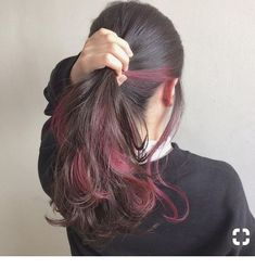 Burgundy highlights - LadyStyle in 2020 Hair Color Streaks, Ombre Hair Color, Hair Highlights, Burgundy Highlights, Brown Hair Red Streaks, Hidden Hair Color, Under Hair Color, Tmblr Girl, Underlights Hair
