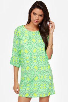 Put It in Print Mint Green Shift Dress     Everly, @LuLu*s