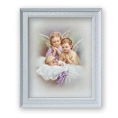 Guardian Angels Praying Over Sleeping Baby Print In Frame