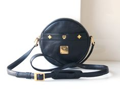 MCM Bags Black Round Cross Body Shoulder vintage authentic leather handbag by hfvin on Etsy  #mcm #bag #black #round #crossbody #shoulder #bag
