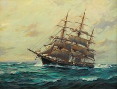 Ship 'Twilight' on the High Seas by Frank Vining Smith Oil on masonite. Ship Paintings, Landscape Paintings, Old Sailing Ships, Nautical Art, Navy Ships, Ship Art, Cool Artwork, Sea Pictures, Sail Boats