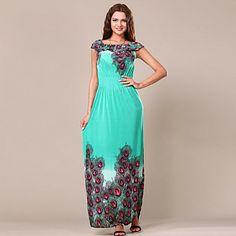 Майя Женская павлинье перо рисунок длинный шелковый 3056 Платье – RUB p. 838,29