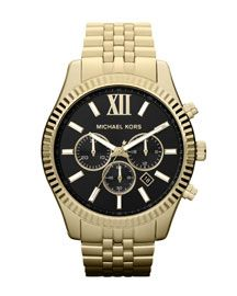 I need this in my life like yesterday! Y1DUE Michael Kors Oversized Golden Stainless Steel Lexigton Three-Hand Watch