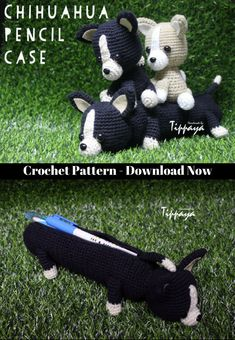 Crochet pattern of Chihuahua pencil case and Chihuahua Amigurumi #affiliate