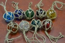 """8 PCS REPRODUCTION GLASS FLOAT BALL WITH FISHING NET 3/"""" **PICK YOUR COLORS**"""