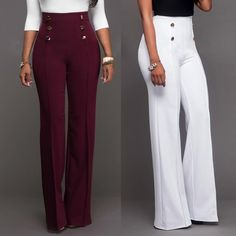 Wome Button Design High Waist Long Casual Wide Leg Pants