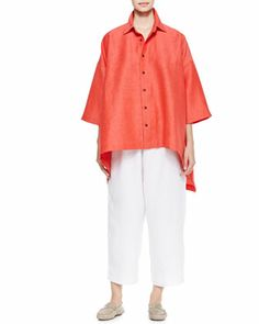 Hi-Low Short-Sleeve Shirt & Linen Japanese Trousers by eskandar at Neiman Marcus.