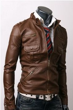 Slim fit Zip Pocket Brown Leather Jacket Jacket Features:Outfit type: Genuine Or Faux Leather JacketGender: MaleColor: BrownFront: Front Zip ClosureCollar: Stand Stip CollarLining: Viscose LiningCuffs: Zip CuffsPockets: Six pockets on Front & Two inside pockets