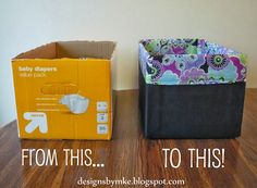 From diaper box to storage- repurposing at its finest! via Mandy's Krafty Exploits: Lined Canvas Diaper Box Diy Projects To Try, Crafts To Do, Craft Projects, Arts And Crafts, Kids Crafts, Baby Crafts, Do It Yourself Organization, Diy Organization, Organizing Toys