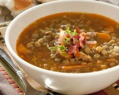 This vegan lentil soup recipe is hearty, healthy, dairy-free, and so easy to make. Whether you're vegan or not, you'll love this soup! Slow Cooker Lentil Soup, Vegan Lentil Soup, Lentil Soup Recipes, Lentil Loaf, Quinoa Soup, Food Network Recipes, Cooking Recipes, Healthy Recipes, Healthy Soup
