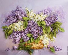 Buy Pattern ribbon lilac in the basket 37 x 29 cm