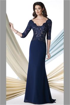 Classy 2014 Navy Blue Mother Of The Bride Dresses Scoop 3/4 Sleeve Beaded Lace Chiffon Sweep Train Open Back Custom Made-in Mother of the Bride Dresses from Apparel & Accessories on Aliexpress.com