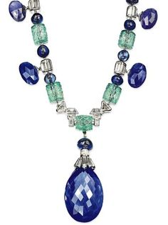 The highlight is a superb carved emerald and sapphire bead necklace in the Indian style by Cartier, which bears a strong resemblance to a pr...