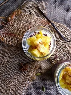 Coconut Black Rice Pudding with Caramelised Pineapple