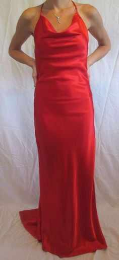 RED FULL LENGTH SATIN PROM DRESS W/ DIAMOND ACCENT BACK AND SEXY LEG SLIT SZ 4 #ODETTECHRISTIANE #PROM #Formal