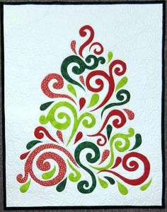 Swirled Christmas Tree by Chris Lynn Kirsch | Chris Quilts.  Pattern by Frivolous Necessity.  Chris made the quilting easy by covering the fused pieces with netting, then quilting the entire piece.