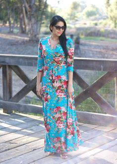 Lil bits of Chic Blog: Floral and Flattering Maxi Dress ft @shoppinkblush