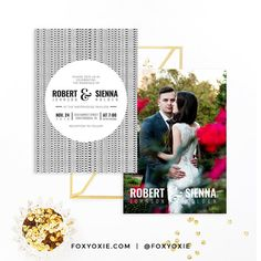 Modern and Classy Photo Wedding Invitation Suite  by FOXYOXIE