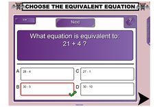 Help students to recognise, calculate and complete equivalent equations with this engaging IWB lesson. Use a balance scale to help visual learners understand that equivalent equations are worth the same as each other. http://schools.interactivelessons.com.au/ http://interactivelessons.com.au/