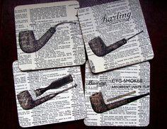 Sherlock Holmes Smoking Pipes, Vintage Dictionary book Page Art Print, Art Coasters