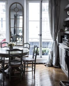 «Morning light in the Paris apartment. High ceilings, herringbone wood floors, and in the perfect neighborhood (Le Marais), our little home away from home…»