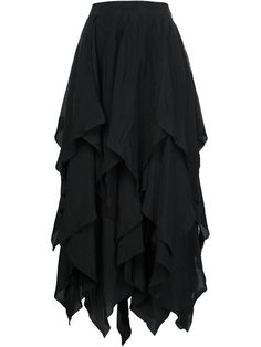 Loewe Black Gauze Draped Midi Skirt with Handkerchief Hem. I like a Bad Girl Look with this Ultra-Feminine Skirt. I've got a Black Leather Bustier cut down to There, a Wide Black Belt and Long Leather Gloves. We're going to go with Major Sparkle - Diamonds - Necklace, Earrings & Bracelet. We want Smooth Black Leather Knee-Boots and a Black Crystal Clutch. (It's all on this board). This Skirt Definitely Wants to Dance. - Gabrielle