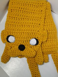 Adventure Time Inspired Jake the dog crochet scarf .