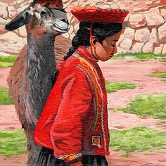 Cusco Paintings - Quechua Girl  by Chris Steinken