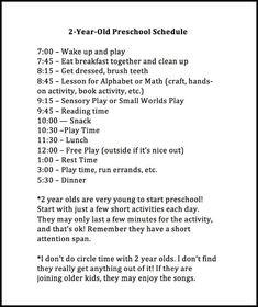Weekly Preschool Planner