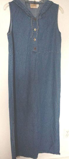 Vintage denim hooded maxi dress sleeveless M Alabama cotton company Canada #AlabamaCottonCompany #hoodeddenimMaxi