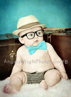#sweet #baby with glasses and a hat plus a  #bowtie that I made :)