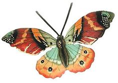 """Brown Butterfly Metal Tropical Wall Decor - Painted Butterflies Garden Art - Recycled Steel Drum Metal Art from Haiti - 7"""" x 13"""" - 516-MW-BR by TropicAccents on Etsy"""