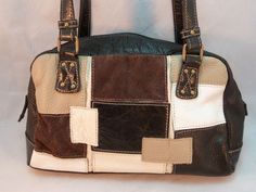 Stone and Co Purse Satchel Bag Patchwork Leather Suede Tan Ivory Black Pebbled #StoneCompany #Satchel