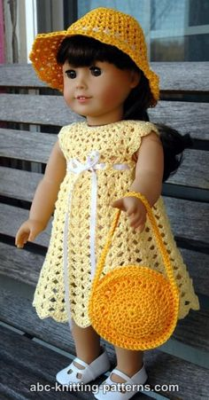 ABC Knitting Patterns - American Girl Doll Seashell Summer Dress.