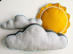 Sun and Cloud Pillows by CecilClyde on Etsy, $80.00