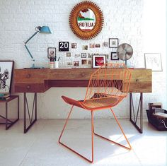 Modern and Retro Home Workspace Design Ideas:Retro Workspace Decoration With Wood Desk Design Orange Chair Blue Desk Lamp For Lighting Plus White Brick Wall