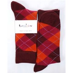 Maroon Orange Dark-Pink Argyle Mens Dress Sock