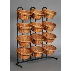 4 Tier 12 Round Willow Basket Display Rack