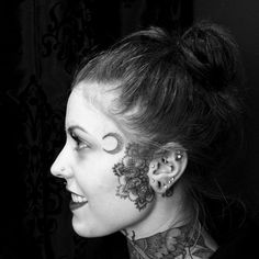 woman with tattoo on face Name Tattoos, Sexy Tattoos, Girl Tattoos, Sleeve Tattoos, Mandala Tattoos For Women, Face Tattoos For Women, Face Tats, Girl Face Tattoo, Mandala Tattoo Design
