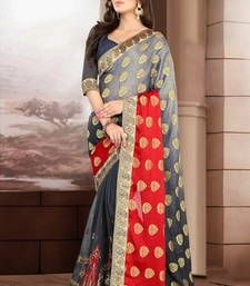 Buy Grey and Red embroidered georgette Saree with blouse brasso-saree online